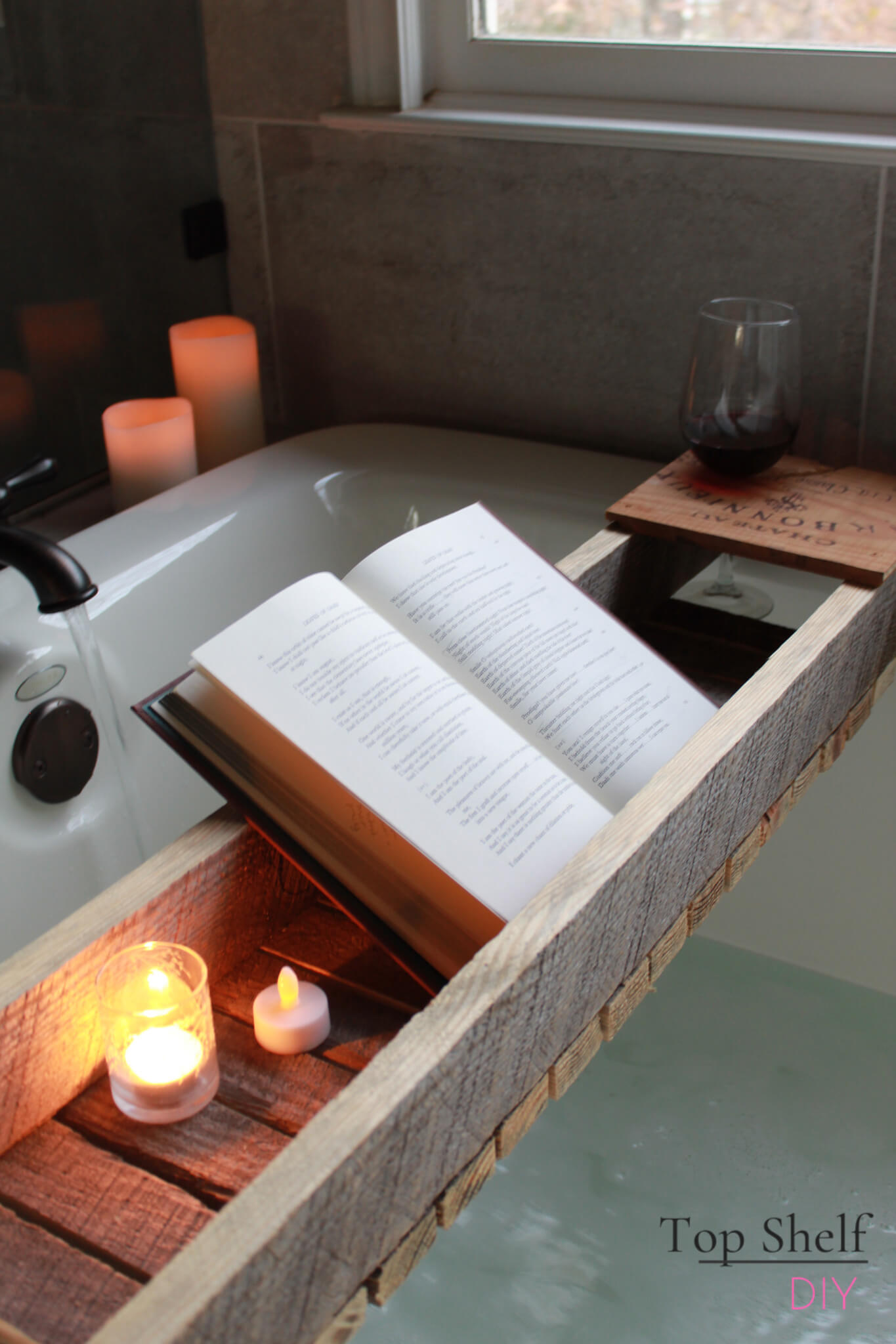 Repurposed and Reclaimed Barn Wood Bath Tub Relaxation Tray