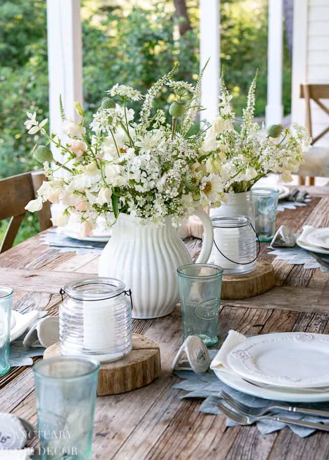 Casual Rustic Outdoor Table Setup