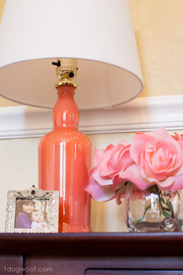 Easy Painted Glass Bottle Lamp Upcycle