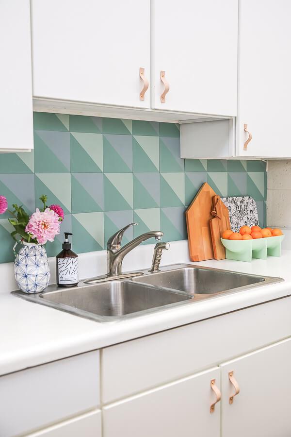 Great Geometric Stenciled Kitchen Backsplash
