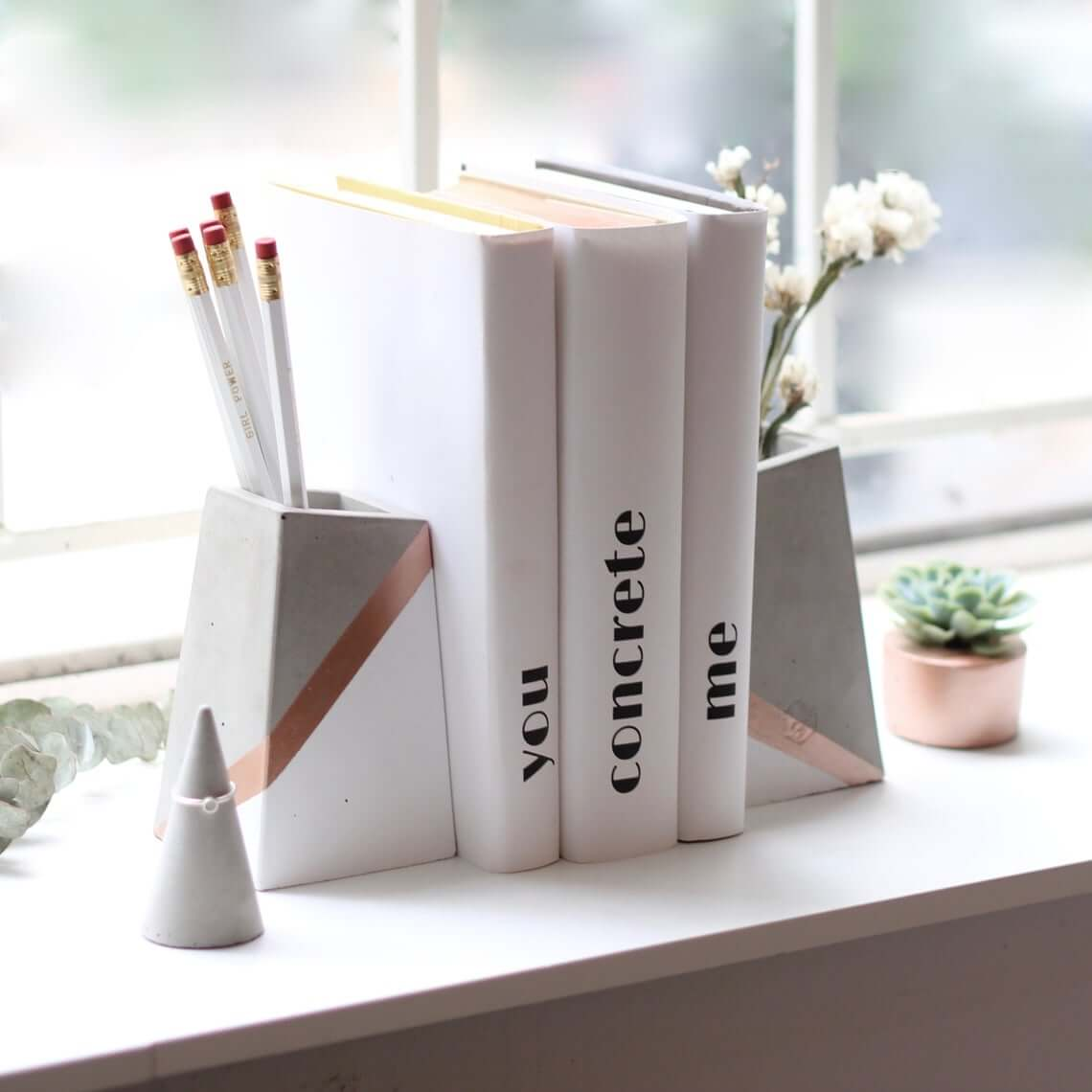 Set of Concrete Bookends with Vases