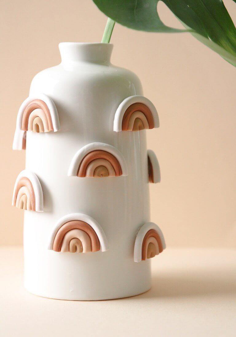 Clay Rainbow Vase in Earth Tones