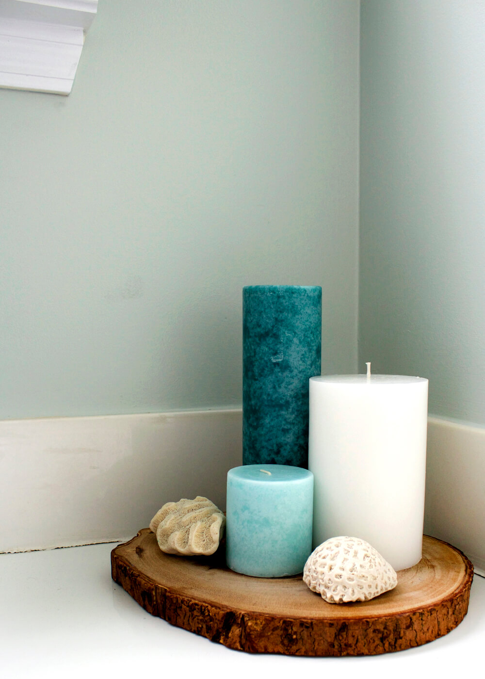 Sleek and Simple Natural Wood Slab Candle Tray