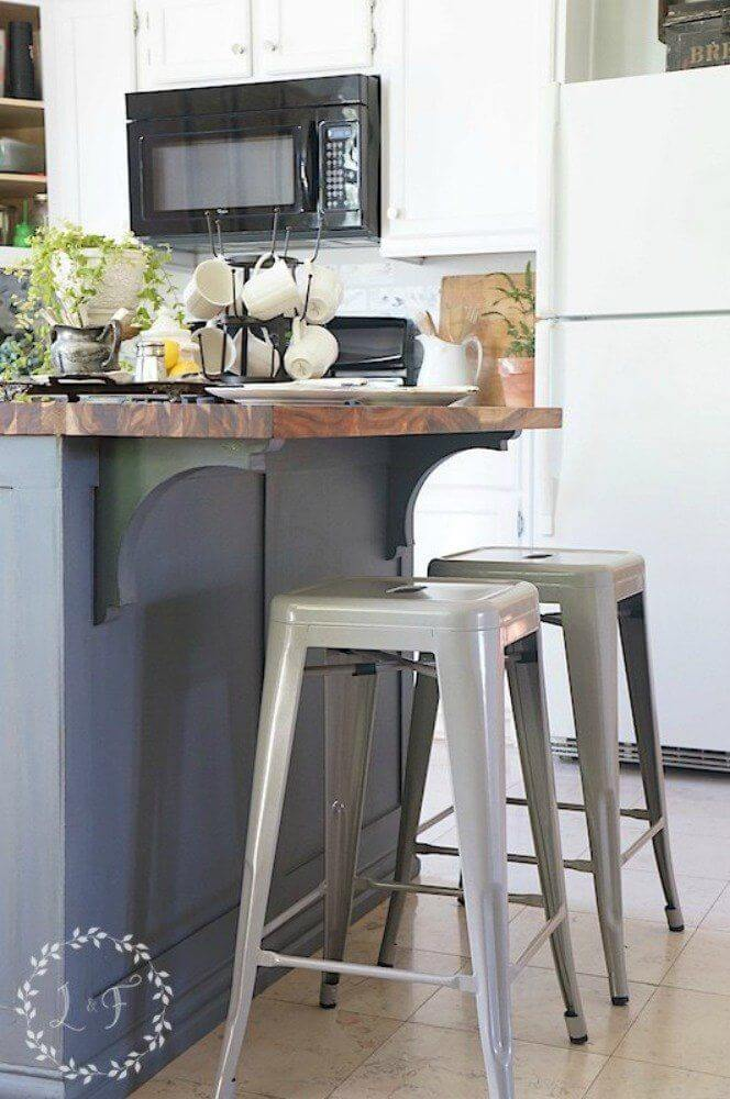 Farmhouse Kitchen Island Makeover with Breakfast Bar