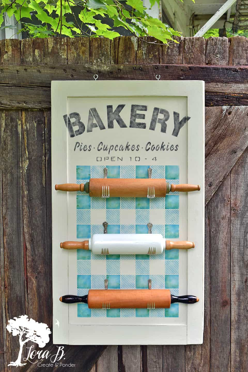 Spectacular Stenciled Bakery Sign and Rolling Pin Holder