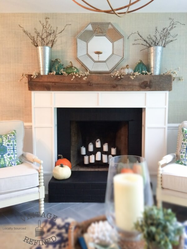 Molded Fireplace Frame with Rustic Wood Mantel