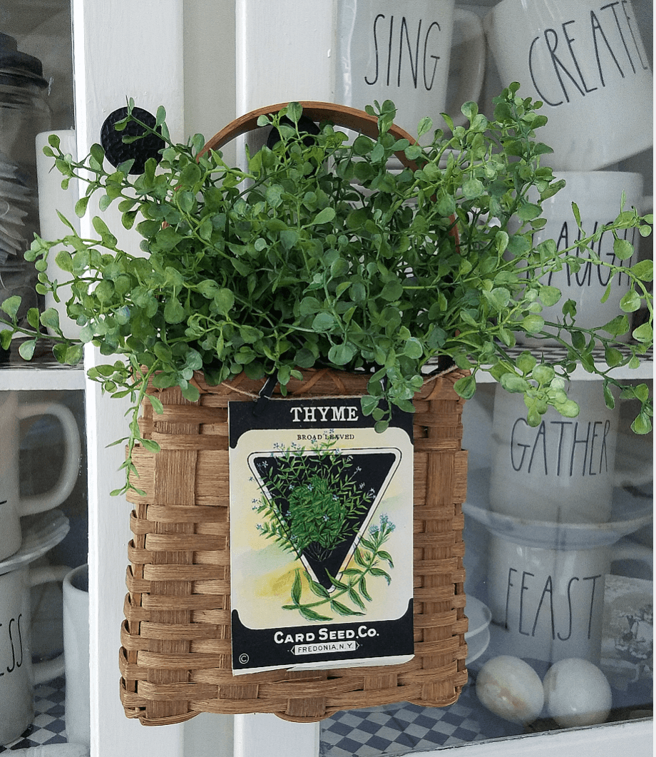 Basket with Greenery and Vintage Seed Packet