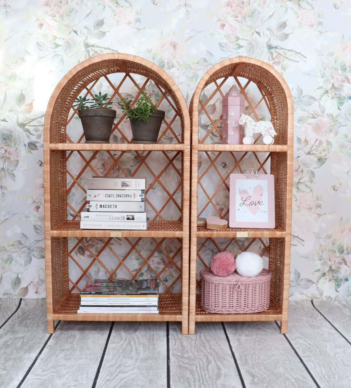 Set of Two Boho Vintage Style Wicker Shelves