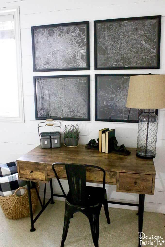 Rustic Brown Wooden 3-Drawered Desk with Art Deco Black Metal Legs