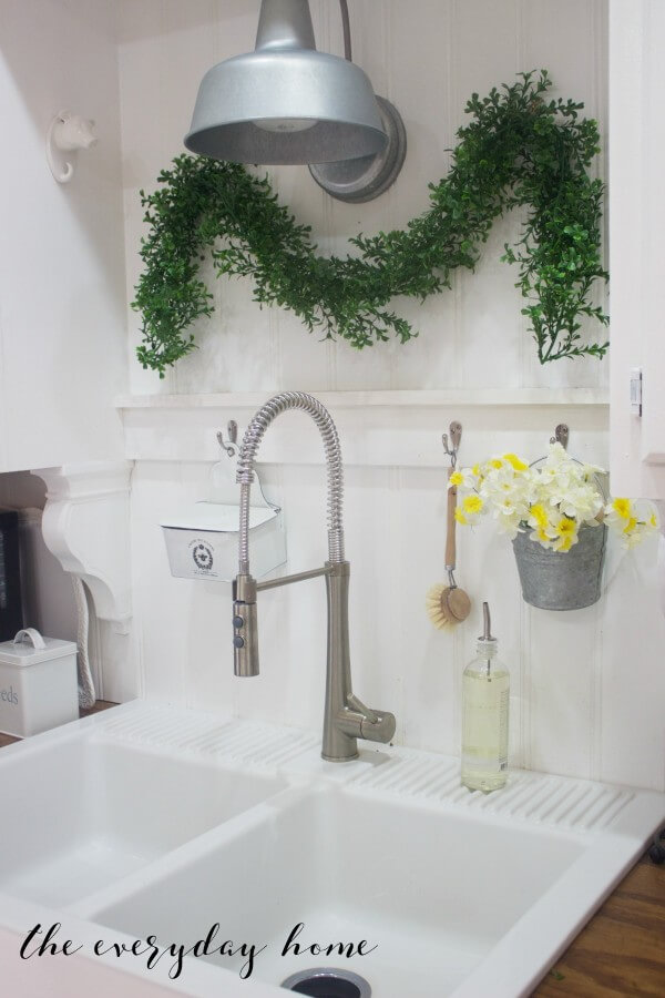 Greenery and Flowers Bring Kitchen to Life