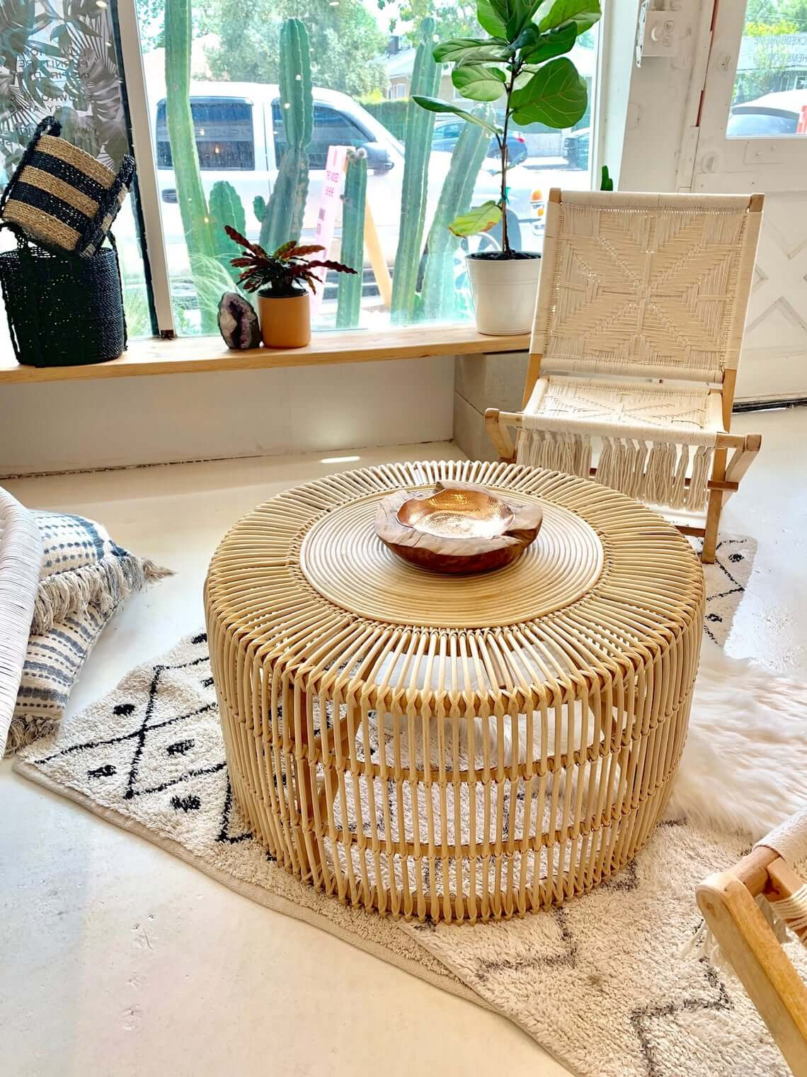 Natural Extra-Large Rattan Coffee Table
