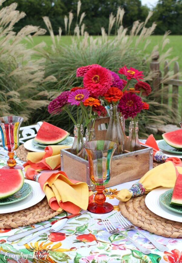 Warm and Colorful Flower-Themed Table Décor
