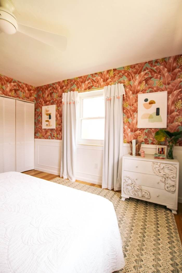 Ultra-Bohemian Pink Palm Wallpaper