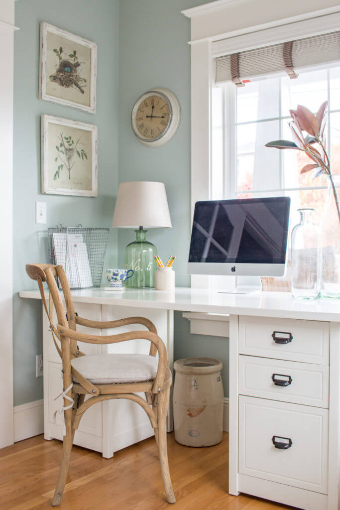Classic White Farmhouse Office Style with Glass and Wire Decor
