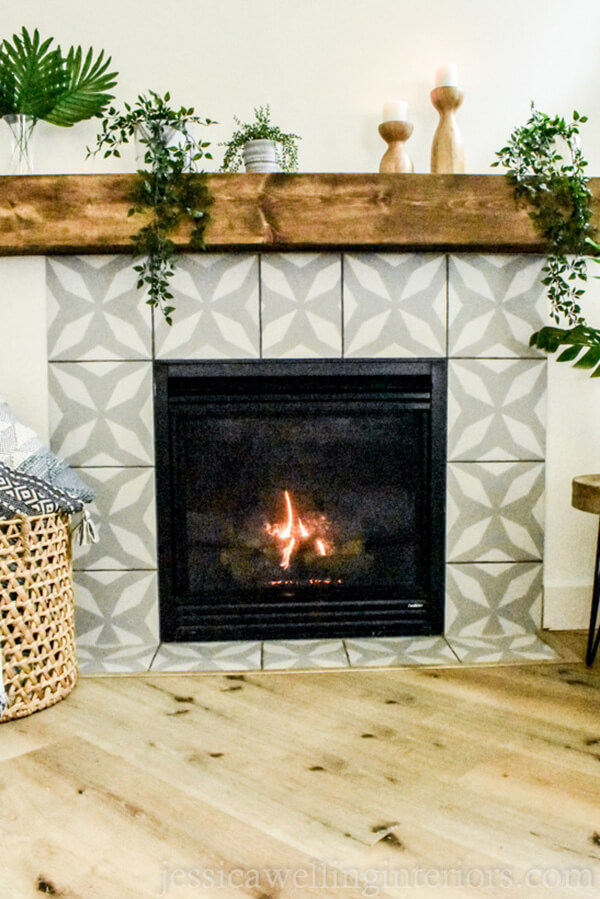 Kaleidoscope Gray and White Tiled Fireplace