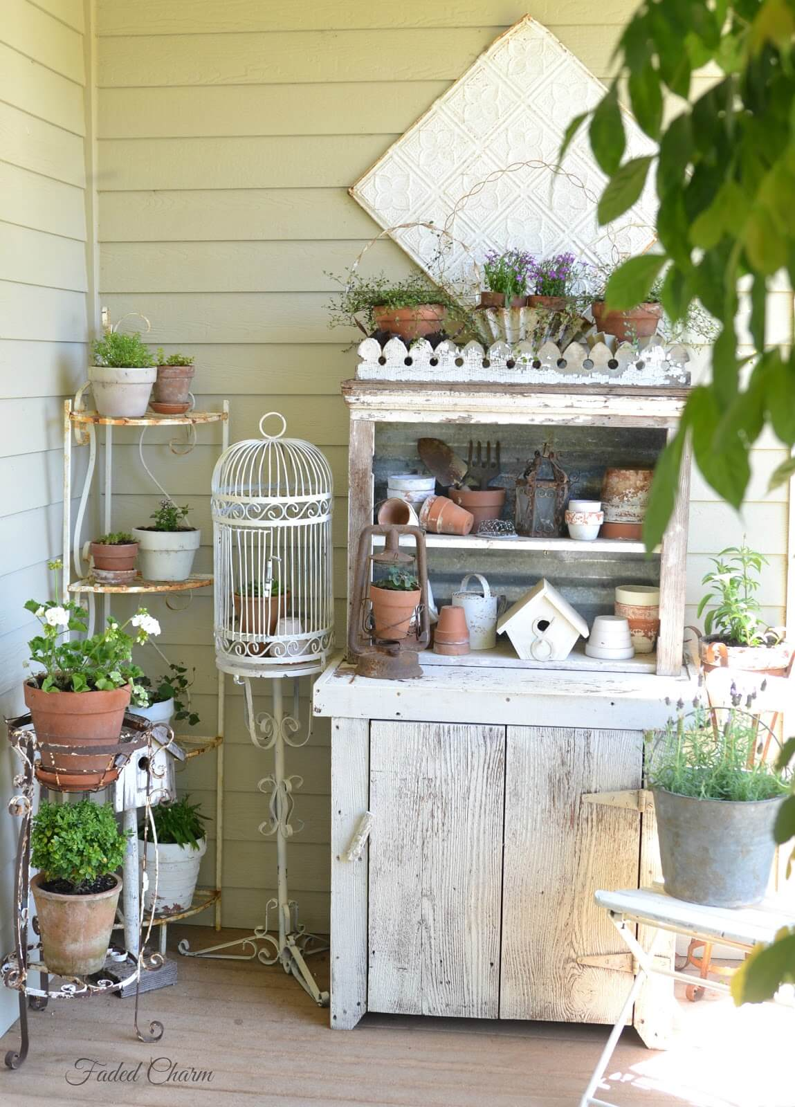 Shabby Chic Gardener's Dream Summer Porch Workspace