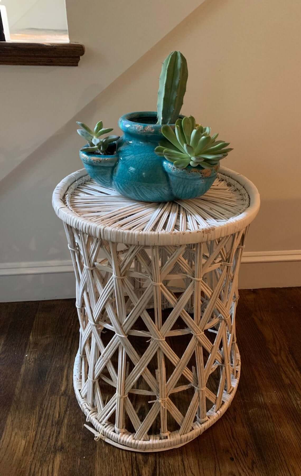 Vintage Bohemian-Style White Wicker Plant Stand