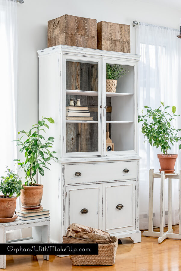 Distressed White Hutch Adds Style and Storage