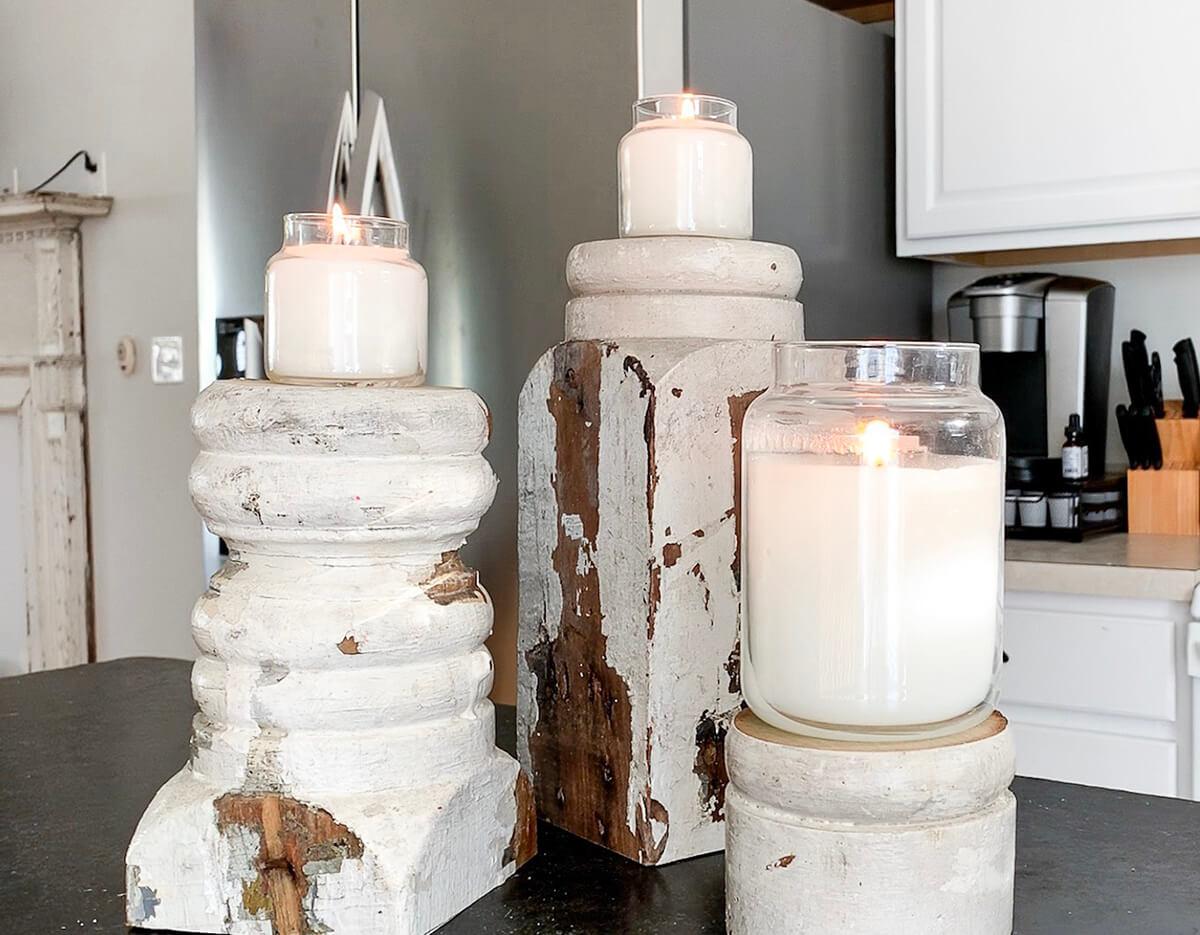 Salvaged Wood Chunky Farmhouse Style Candlesticks