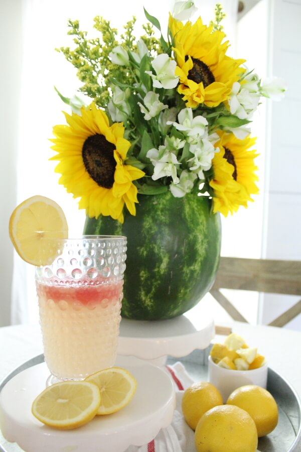 Watermelon Centerpiece with Summer Flowers