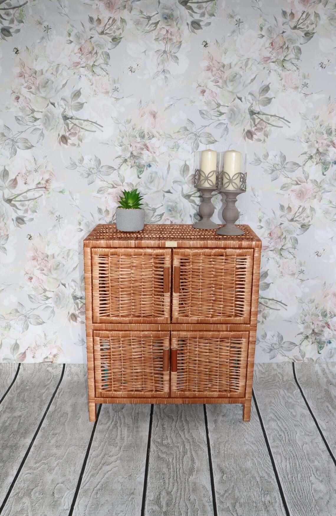 Handmade Wicker Cabinet with Doors