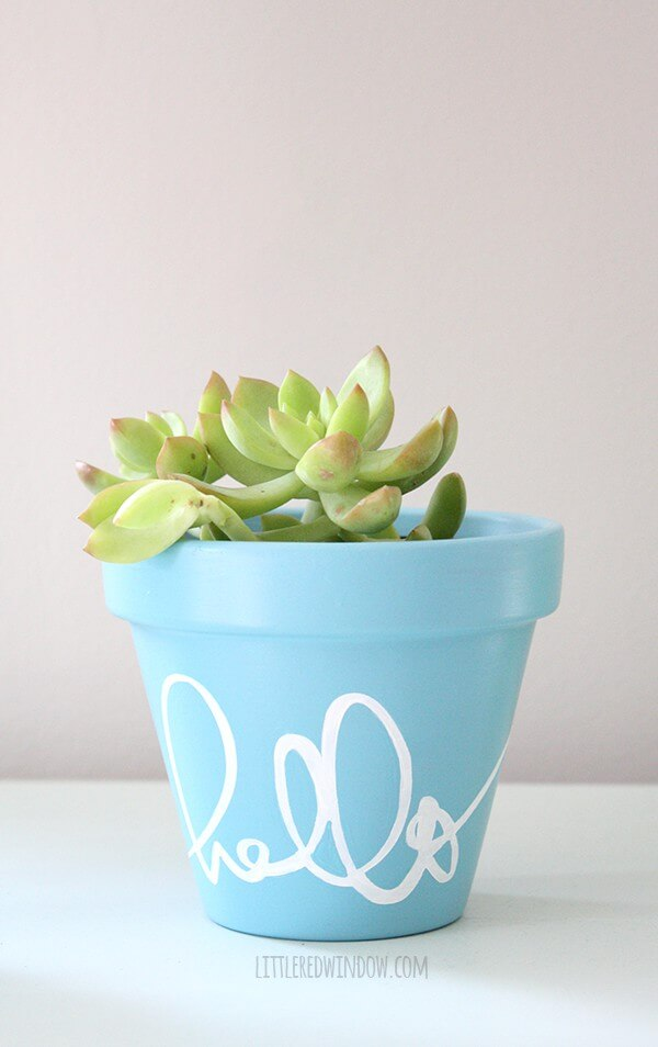 Say Hello to this Hand Painted Stenciled Flower Pot