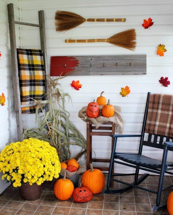 Rustic Wood, Bright Pumpkins Hearty Mums