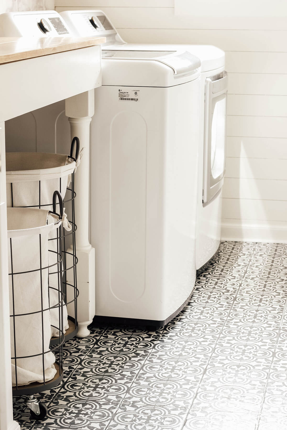Classic and Contemporary Black and White Stenciled Floor Tile