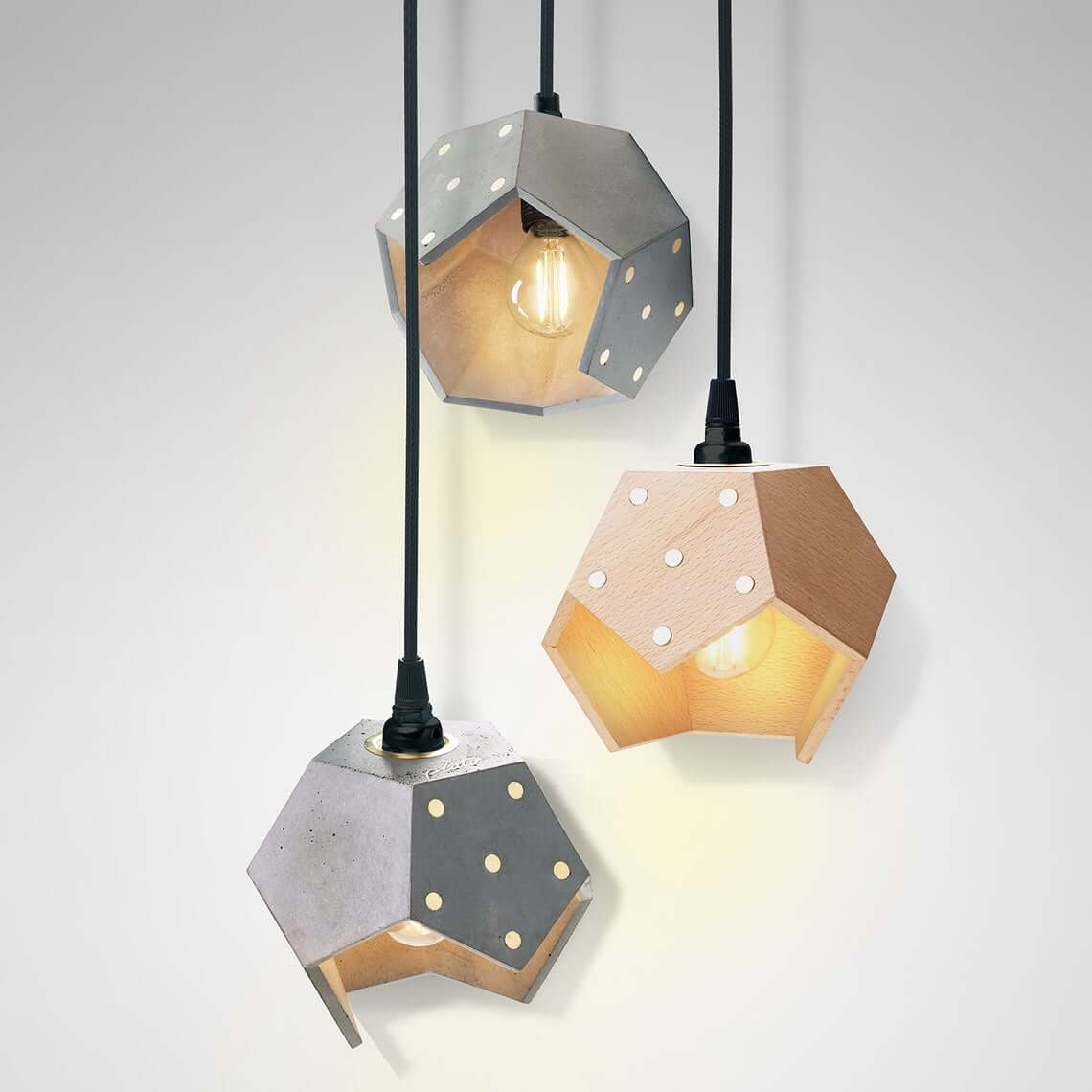 Concrete and Wood Geometric Pendant Light Trio