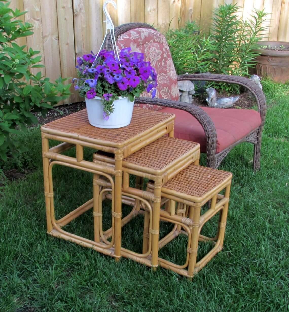 3-Piece Rattan Outdoor Nesting Tables