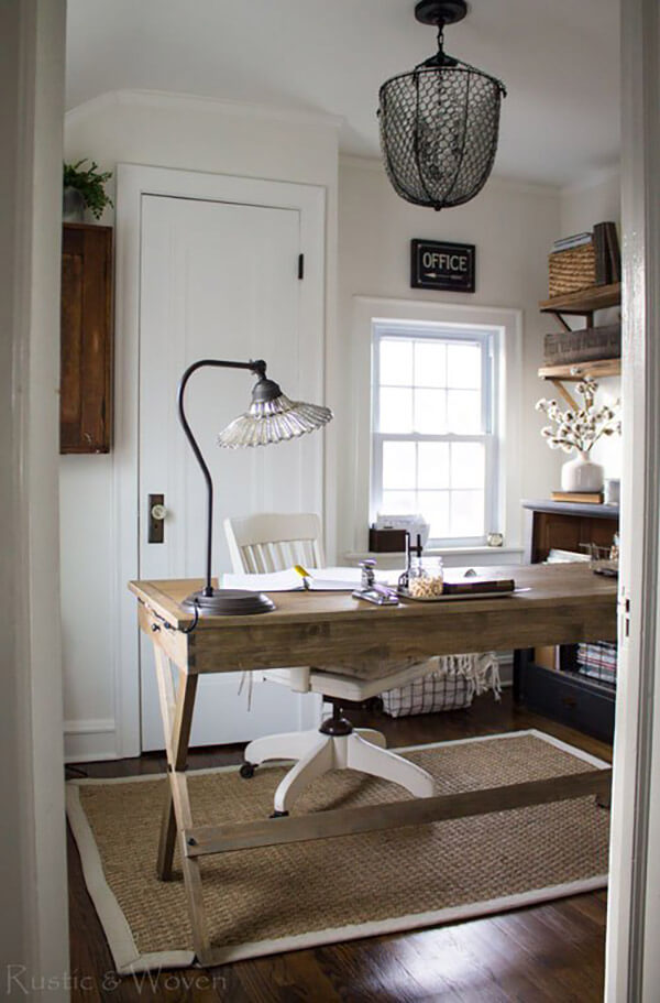 Simple and Rustic Wooden Farmhouse Furniture Perfect for the Home Office