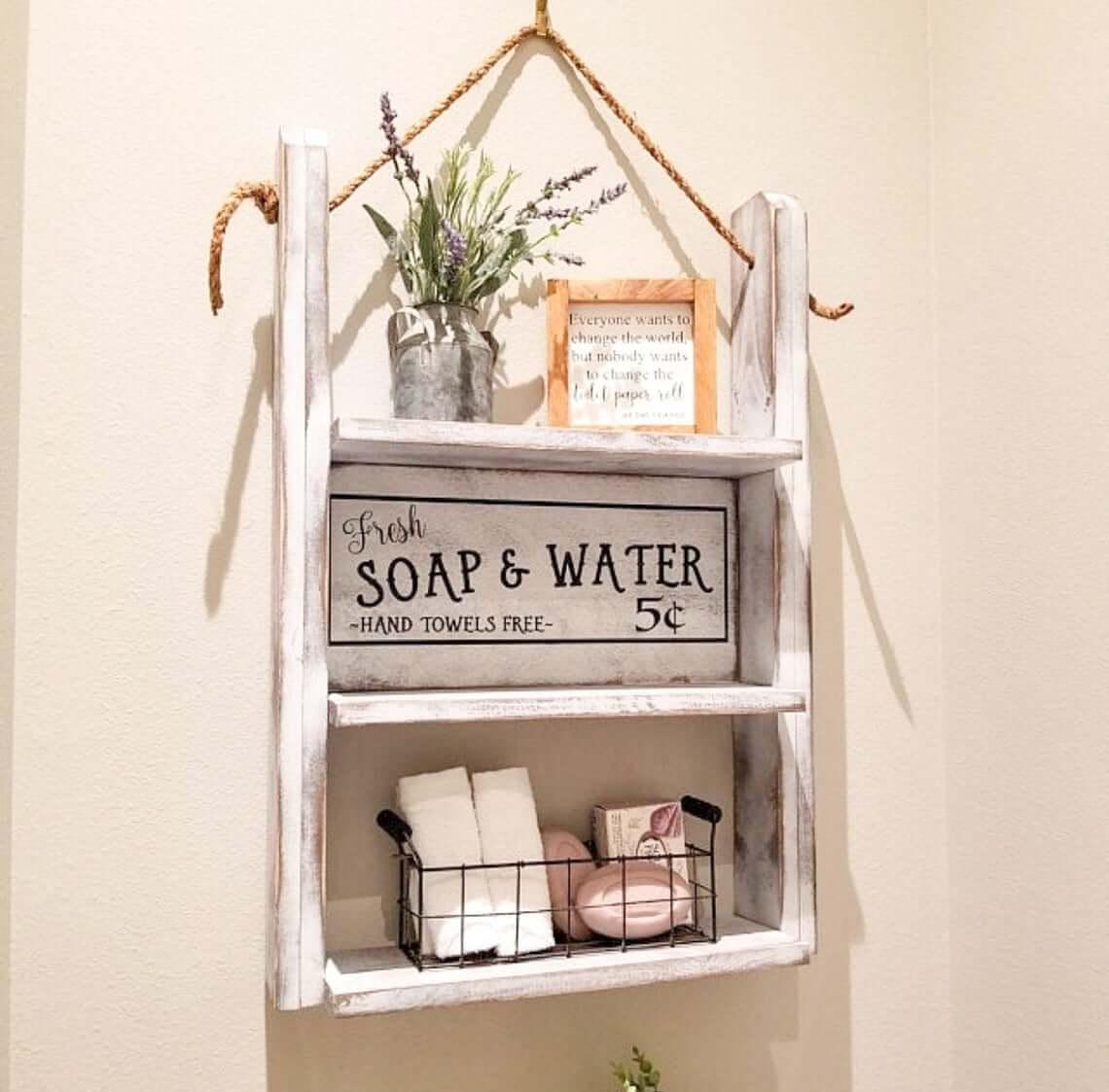 Hanging Rustic Labeled Soap Shelf