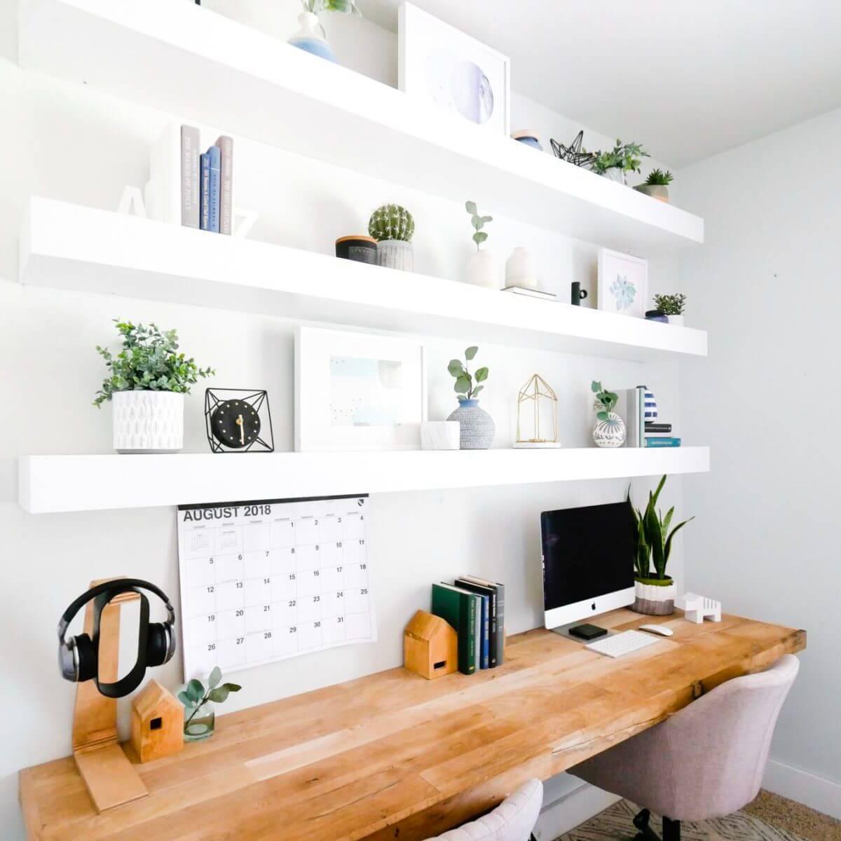 Ultra-Hip and Modern Floating Wooden Slab Work Desk Hub