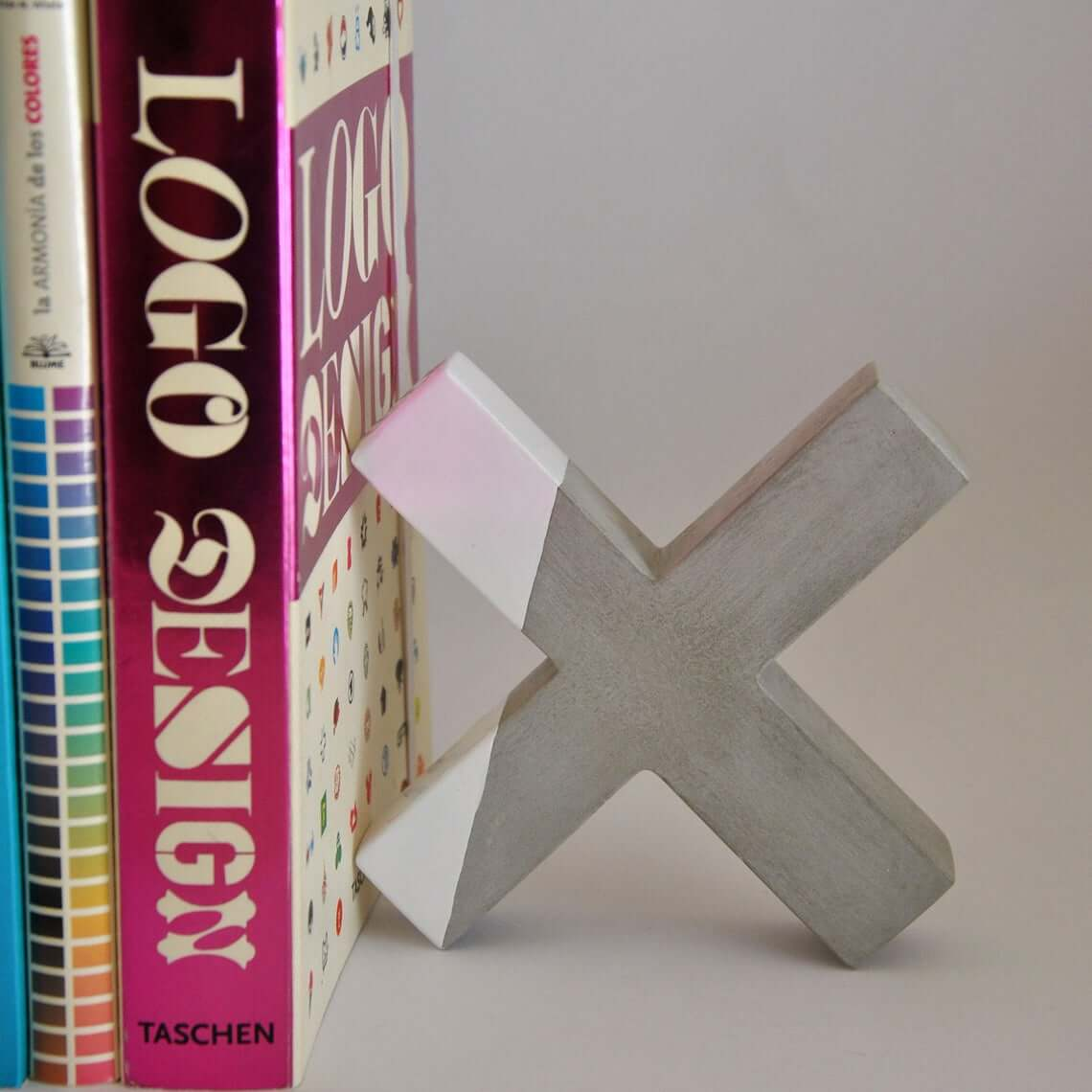 Concrete X-Shaped Bookends or Paperweight