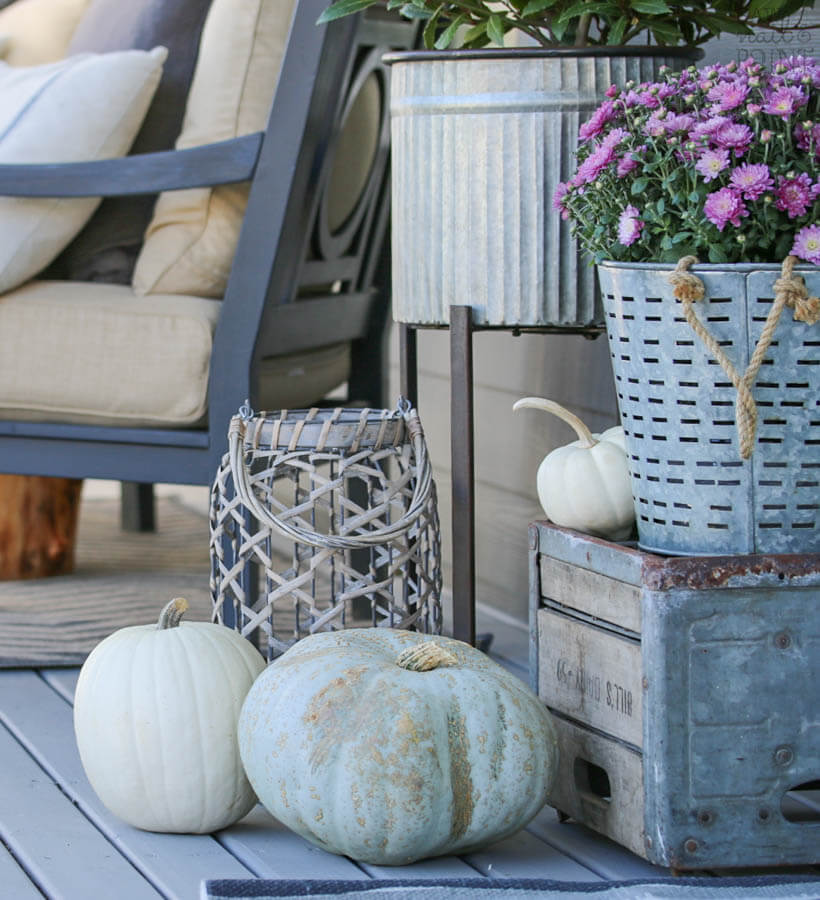 Basket Bounty with Fall Flowers and Lined Pumpkins
