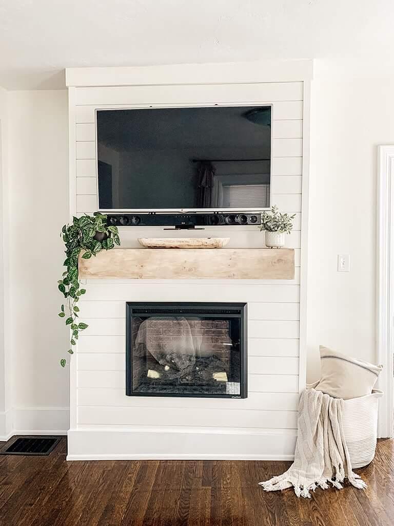 Seamless Shiplap Covered Modern Farmhouse Fireplace