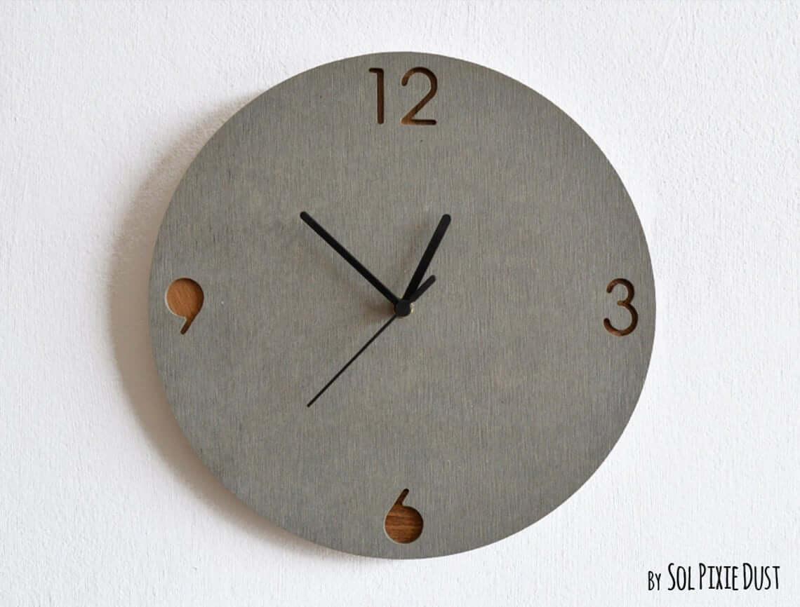 Wood and Concrete Circular Wall Clock