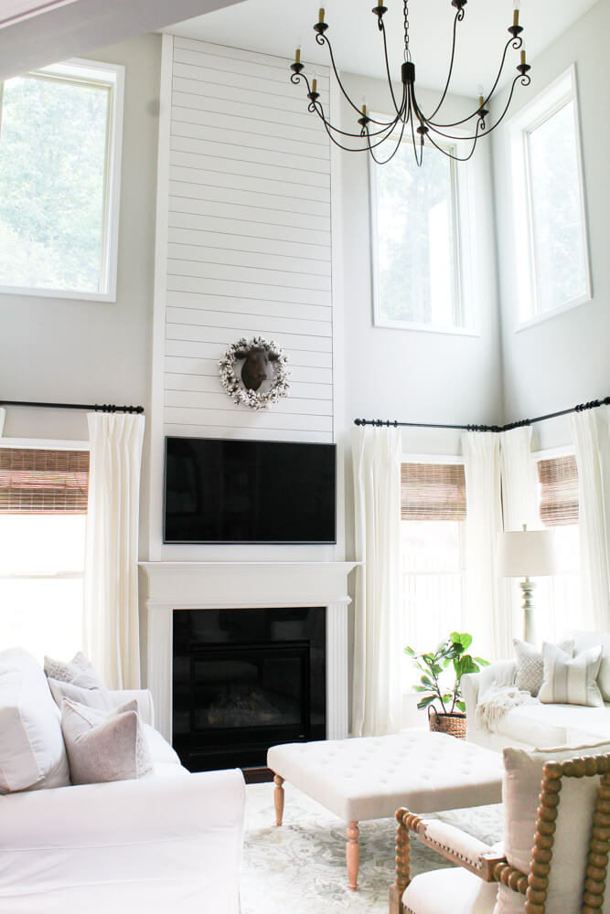 Continuous and Classic Dramatic Tall White Fireplace