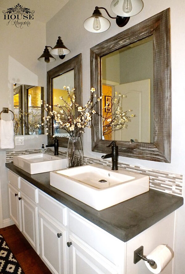 Mixed Motifs in this Modern Farmhouse Bathroom
