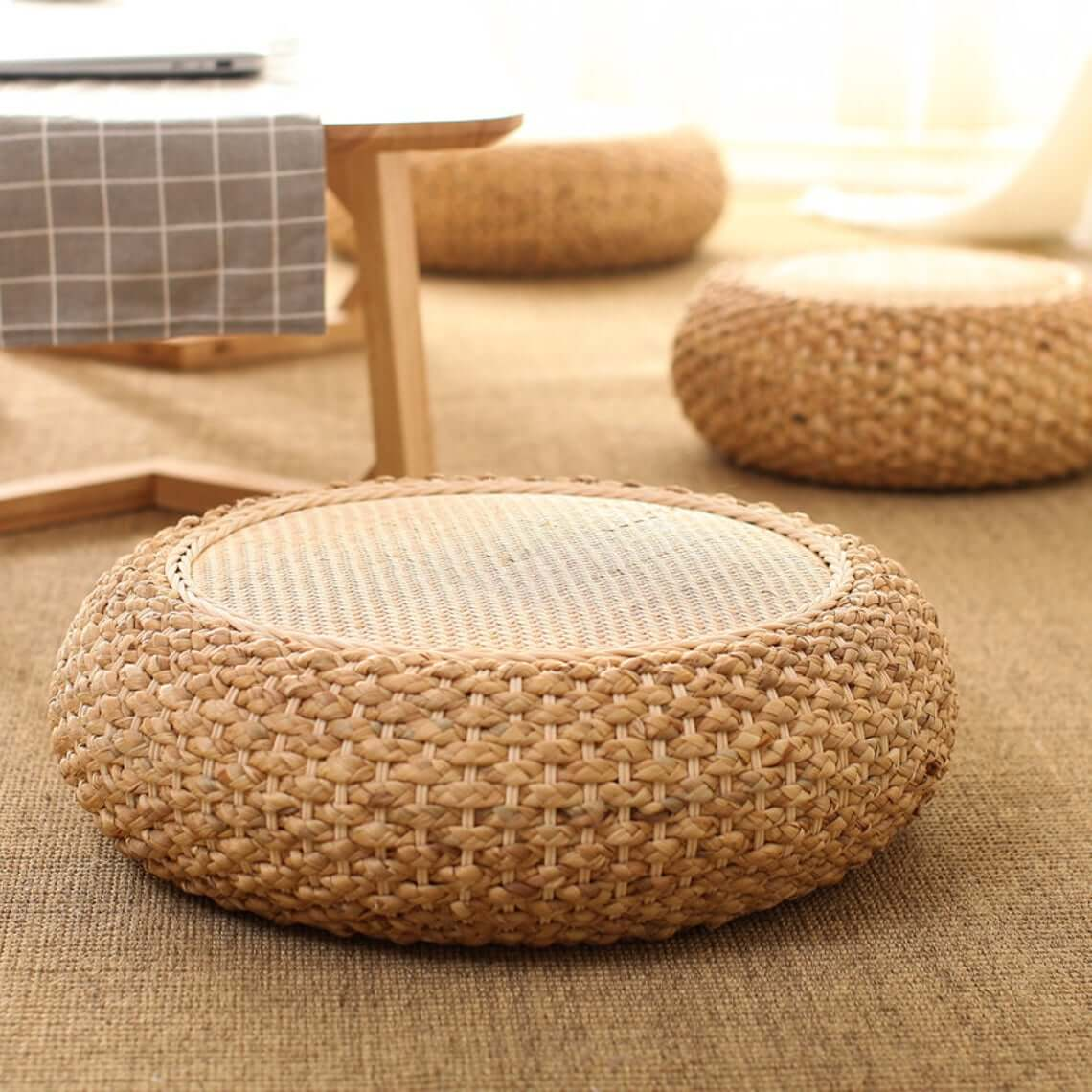 Rustic Zafu Zabuton Floor Cushion Ottoman