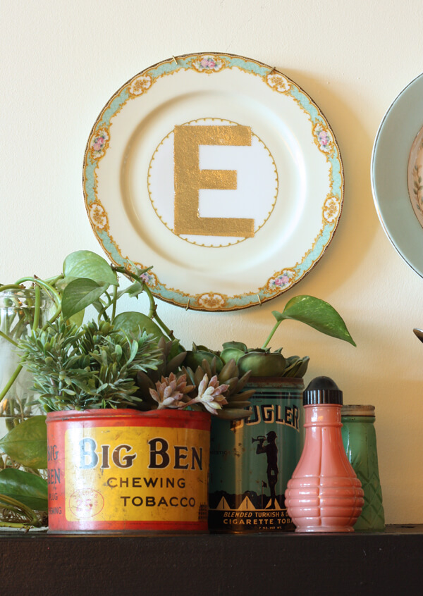 12. Delicate and Vintage Pretty Plate with Golden Stenciled Initial