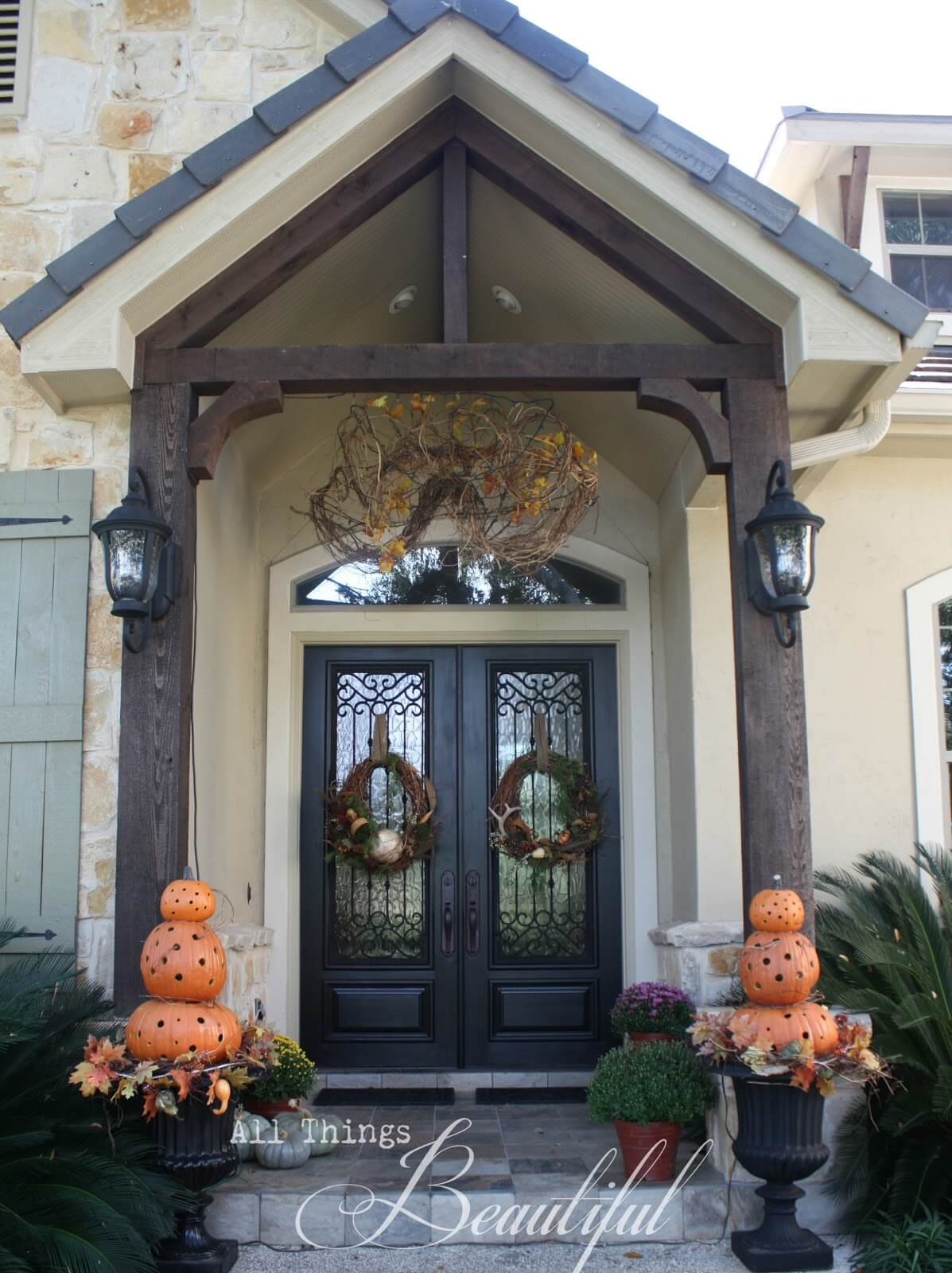 Orange Pumpkin Topiary Fall Entryway