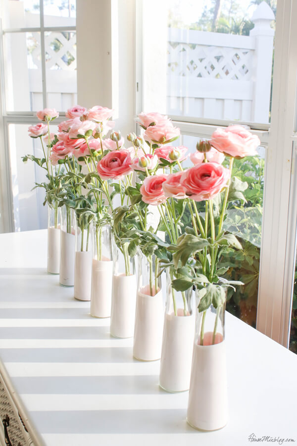 Dip-Dyed Pink Faux Flower Vases