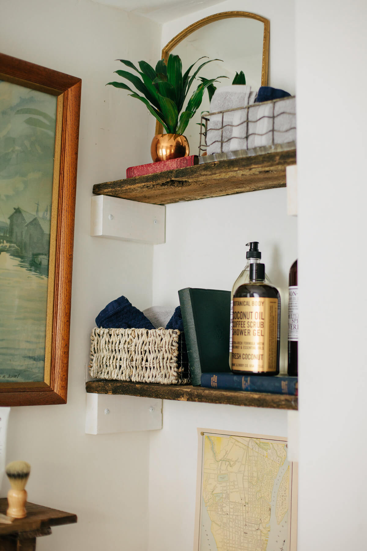 Full of Love and Character Wooden Bath Shelves Nook