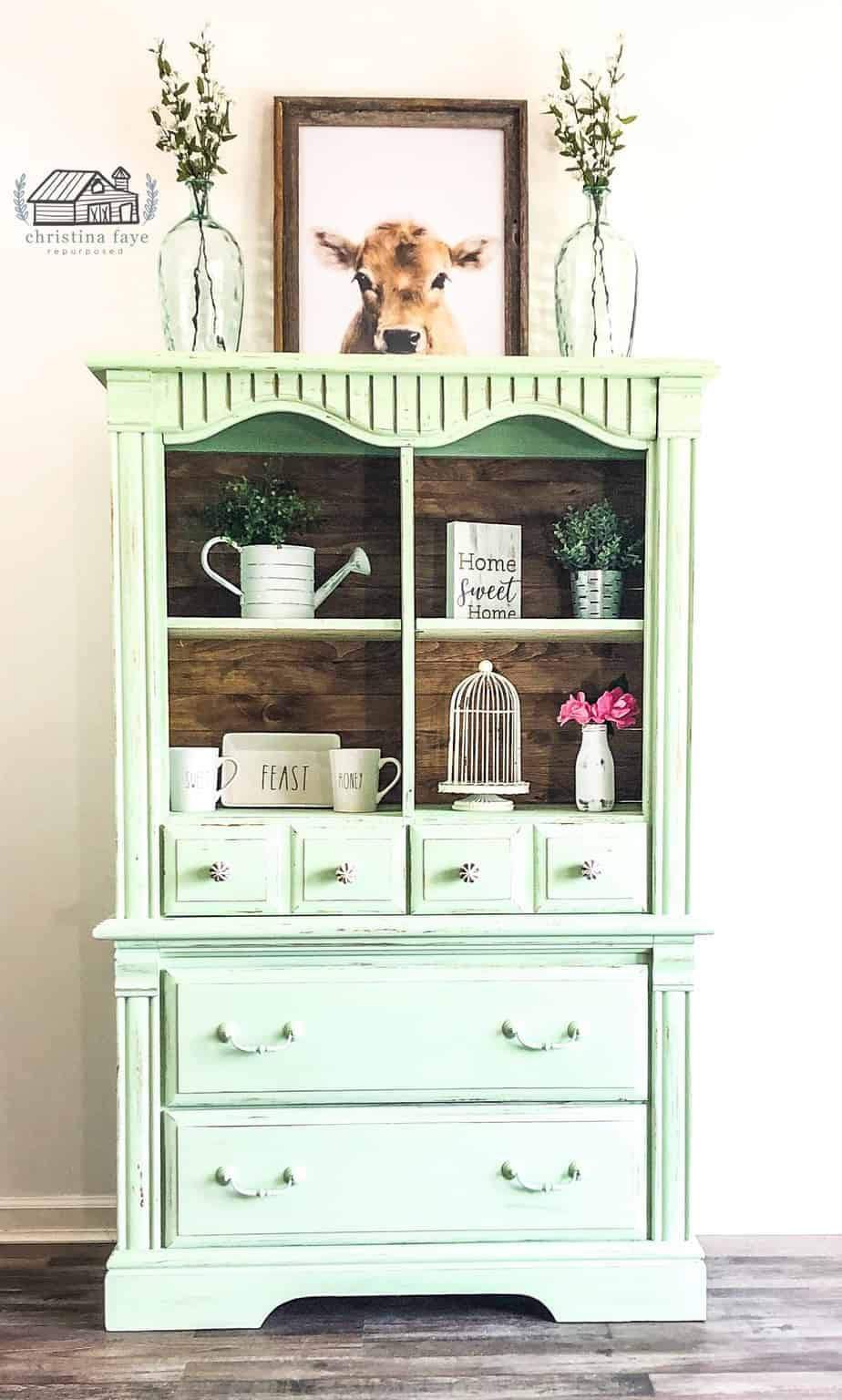 Upcycled Armoire for Farmhouse Kitchen Cabinet