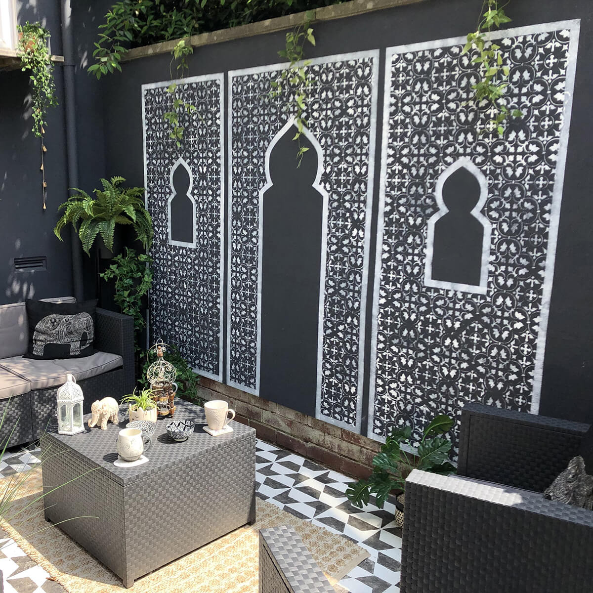 Black and White Moroccan Inspired Stencil Wall Mural