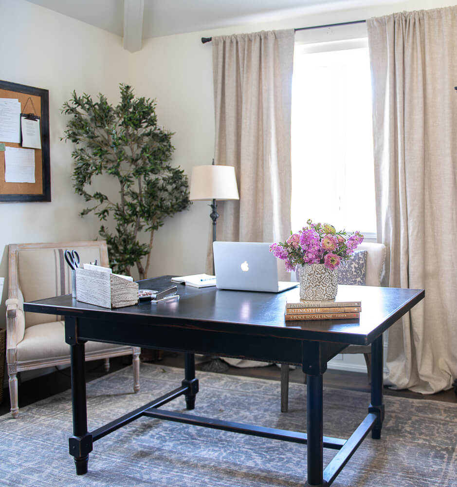 Large Work Space Black with Distressed Edges to Add Character Farmhouse Table