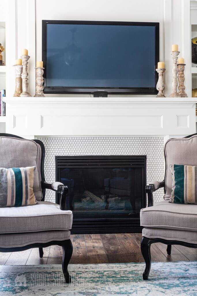 Tiny White Hexagon Covered Modern Fireplace