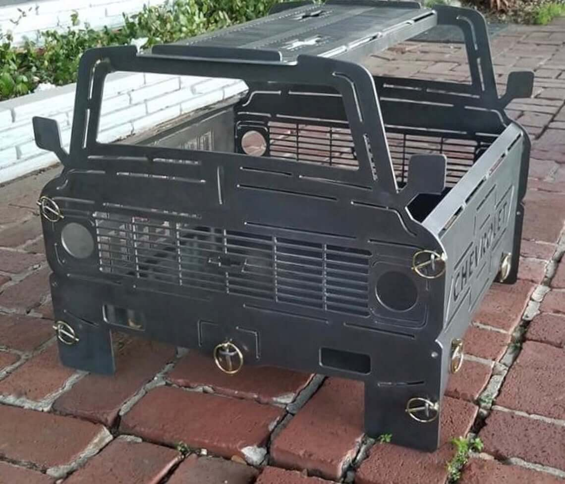Rugged Chevy C10 Metal Fire Pit Grill