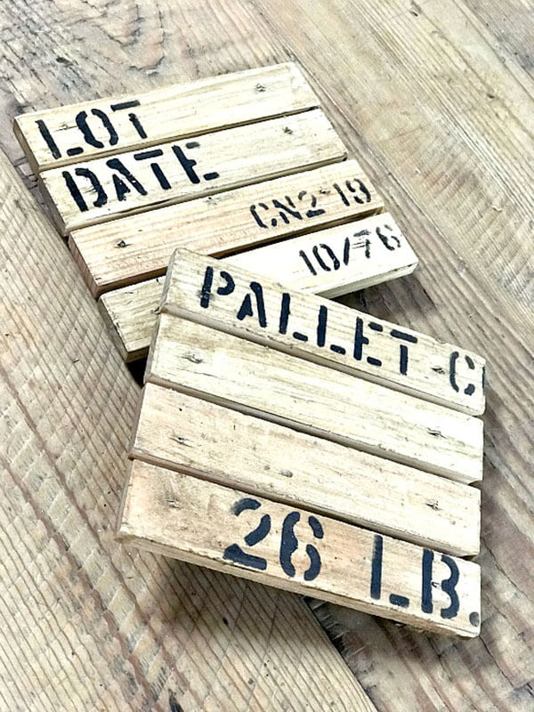 Rough Stenciled Crate Container Number Date and Item Wall Art